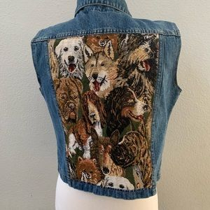 VINTAGE DOG handmade denim jean embroidery vest